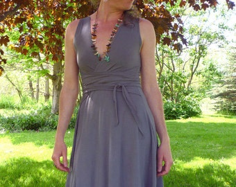 Organic Clothing - Eco Dress - Wrap Style Organic Cotton - Shown in Slate - Choose Your Color