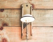 Wall lighting, Wall sconce, Steampunk lamp, White wall lamp, Wooden wall lamp, Enamel wall lamp, Upcycled lighting, Industrial lighting