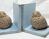 Beige Owls Figurines Set of Bookends//Available in a Variety of Colors//Owl Book Ends//Farmhouse Decor//French Country//Shabby Chic