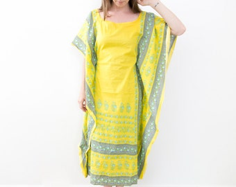 Upcycled Bright Yellow Indian Cotton Kaftan