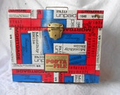 Vintage Red/White/Blue 70's Style Porta File - Mortgage/Bills/Tax Forms/Income Tax Design - Bright Vibrant Industrial Decor- Ready to Ship