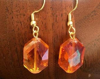 Gorgeous orange glass hex dangle earrings