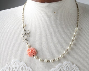 Coral Bridesmaid necklace, coral rose necklace, Coral wedding Jewelry, vintage style, Bridesmaid gift, Coral and Ivory, maid of honor gift