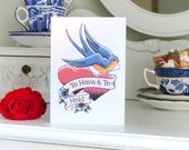 To Have and to Hold Blue Swallow and hearts tattoo wedding card