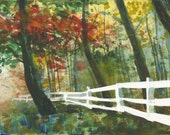 Watercolor Trees with Fence