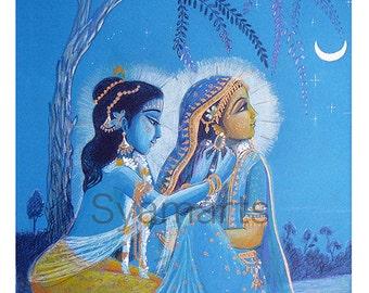 Radha Krsna moonlit night pencil drawing syamarts portrait of divine love devotional art india vedic art bhakti meditation