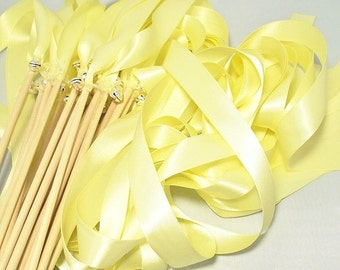 50 Magical Wedding Ribbon Wands in YOUR COLORS with BELLS (shown in baby maize yellow and silver bells) Colorful wedding ceremony exit idea