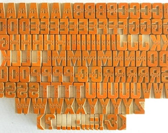 Free Shipping - A to Z, Punctuation Marks 123 No's Designer Letterpress Wooden Letters Complete Set for Printing- VG100