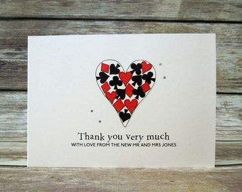 Lucky in Love themed wedding day thank you cards