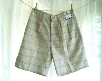 Vintage Mens 1980's Light Tan and Pink Plaid Dress Shorts, Golf Shorts, Size 32, Headstock, NWTs