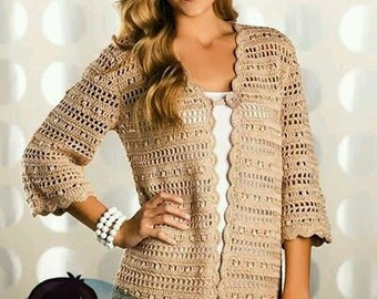 Crocheted Long Cardigan With 3/4 Length Sleeves - MADE TO ORDER