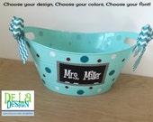 Personalized oval tub - Teacher gift basket, name, initial or monogram, Chalkboard design, end of school year, teacher appreciation