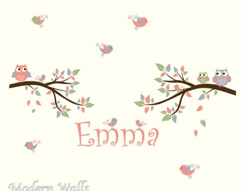 Branch Wall Decals with Custom Name, Birds, Owls-Children's Vinyl Wall Decals Stickers
