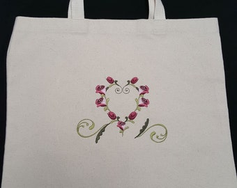 Tote Bag with Heart of Roses
