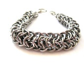 Dragonback Chainmaille Bracelet - Unisex - Bright Aluminum - Chainmaille Jewelry - Chainmaille Bracelet - Made in Canada