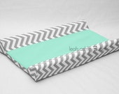 Designer Contour Changing Pad Cover - Gray Chevron - Solid Mint Cotton or Minky - Quinn