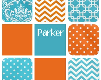 """Swatches - """"Parker"""" Fabric Collection - Turquoise, Orange, White - FREE SHIPPING"""