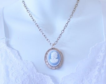 Vintage Cameo Pendant Gold Tone Light Blue White Womans Profile Goldtone Cable Chain Victorian Neoclassical Princess Length Necklace