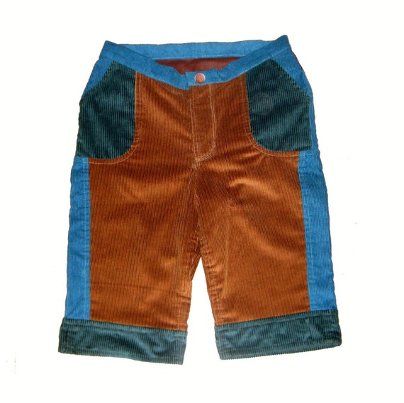 Patchwork Corduroy Brown and Blue Shorts