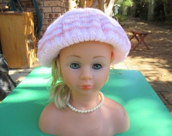 Handmade Knitted Pale Pink Striped Beret for a Girl Aged 8 - 12 years