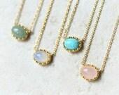 Stone Necklace / oval stone necklace, rose stone, turquoise, opal, aventurine