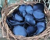 Navy Blue beautiful satin rose petals, you choose quantity, handmade wedding rose petals, custom colors