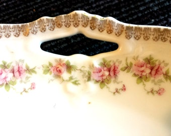 Z.S. &C Bavarian China plate, Rose bud Plate with handles