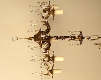 Spanish Brass Chandelier, Small Chandelier, Vintage Parts Chandelier, crystal chandelier