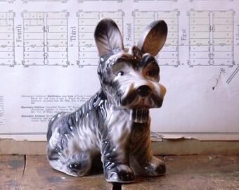 Vintage Scottie Dog Porcelain Planter or Vase