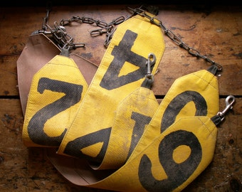 Vintage Yellow Sash Number Sign - Hog Auction Belly Band