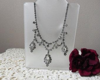 Antique Rhinestone Necklace - Bride, Wedding Accessory, Vintage Glamour, Rehearsal Dinner, Honeymoon, Something Old, Destination Wedding