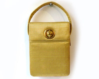 Vintage mid century gold fabric mesh Dorrette snakeskin lined compact evening purse, compact purse