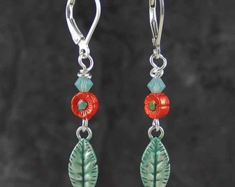 Hand-painted metal charm EARRINGS flower and leaf patina orange with aqua