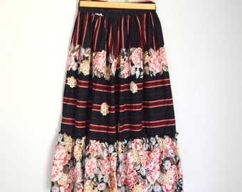 Vintage 70s 80s Striped and Floral Roses Midi Skirt Black Red Pink // womens xsmall -- size 00 0