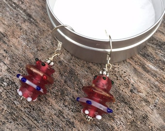 Red white and blue glass bead earrings, Red Venetian glass bead earrings, silver ear wire earrings, red earrings, hand made earrings