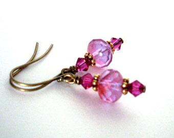 Fuchsia lilac bead earrings - antiqued brass crystal earrings, fire polished beads, Austrian crystal, gold beads, mauve fuchsia bead jewelry
