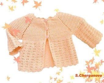 Crochet baby sweater,  Crocheted baby jacket  in peach color, summer vest, open-work vest, summer clothes , Discount, Ready to Ship