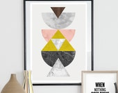 Watercolor art, geometric poster, abstract watercolor, scandinaivan art, minimalist art, yellow and pink, mid centrury print, wall decor