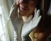 Vintage Leather Gloves - Kid Leather Gloves - Wedding Gloves - Long White Gloves - French Gloves - Formal Gloves