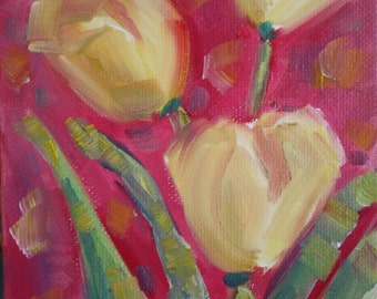 Tulip Painting - Original Oil - Flower Floral Painting - Garden Flowers - Fine art home decor - wall art - Pink and Yellow Floral - Spring