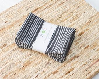 Small Cloth Napkins - Set of 4 - (N3056s) - Dark Gray Stripe Modern Reusable Fabric Napkins