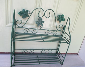 Vintage Green Metal Free Standing Tiered Shelf
