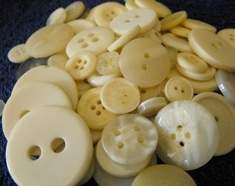 Ivory Buttons, 100 Bulk Assorted Round Multi Size Crafting Sewing Buttons