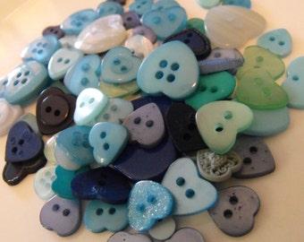 25 Blue Heart Buttons - Grab Bag