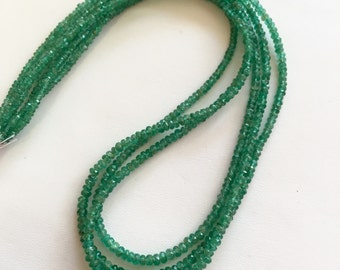 Emerald Faceted Rondelles-Graduated