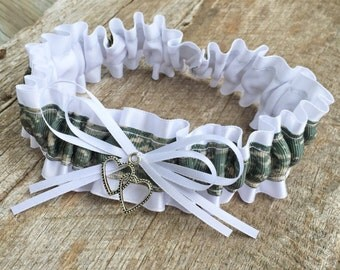 Military Branch Of Service Digitial White Satin Double Heart Accented Wedding Bridal Keepsake Or Garter Set
