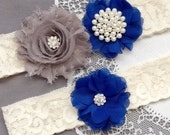 Wedding Garter Belt Set Bridal Garter Set Ivory Lace Garter Belt Royal Blue Garter Set Rhinestone Crystal Pearl Garter GR185LX
