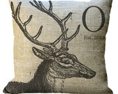 Deer Head with Antlers Custom Monogram on Burlap  in Choice of 14x14 16x16 18x18 20x20 22x22 24x24 26x26 inch Pillow Cover