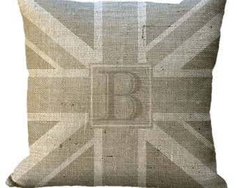 Burlap Custom Monogram Union Jack Natural Pillow Cover in Choice of 14x14 16x16 18x18 20x20 22x22 24x24 26x26 inch