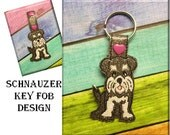 In The Hoop Schnauzer Key Fob Embroidery Machine Design